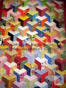 Üç boyutlu patchwork yatak örtüsü