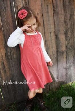 gömlekten kız çocuklara şirin elbise