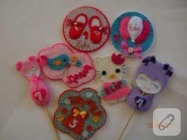 Keçeden kız bebekler için doğum günü magnetleri