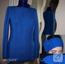 Mavi Kazak ve Saç Bandı