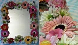 Yapay çiçeklerle ayna çerçevesi…