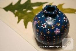 Mavi-Çiçekli Seramik Nar