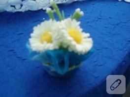 Şişe kapağına minik çiçekler bakııın