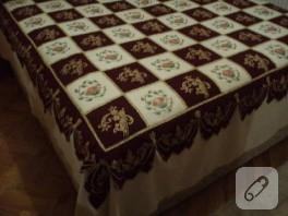 Boyama patchwork yatak örtüsü