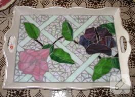 Çiçek desenli Mozaik Tepsim