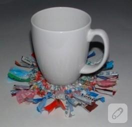 Plastik poşetten bardak altlığı…