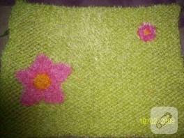 fıstık yeşili fıstık gibi çiçekli paspas :))