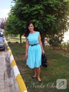 Klasik turkuaz elbise