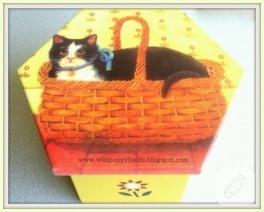 Kedi desenli dekupaj kutu