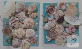 Deniz kabukları ile banyo süsü
