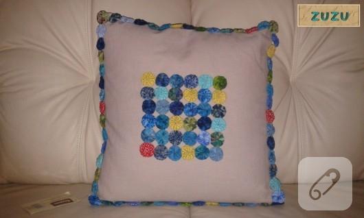 Yoyo patchwork yastık kılıfı