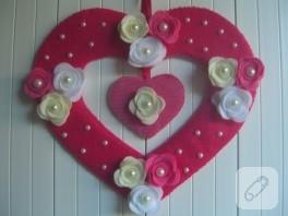 Keçe kapı süsü kalp 2