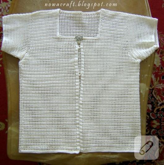 Tığ işi beyaz ceket