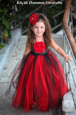 Uğur böceği konseptli kırmızı tütü elbise