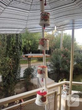 Saksıdan rüzgar çanı balkon süsü