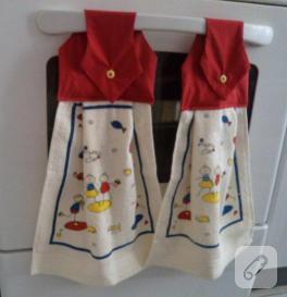 Kumaş eklemeli pratik mutfak havlu kenarı