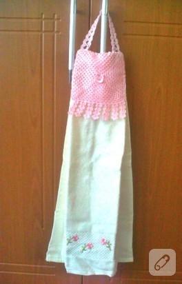 Pembe, gönlüm sende mutfak havlusu (havlu kenarı)