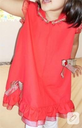 Kırmızı kız çocuk elbisesi