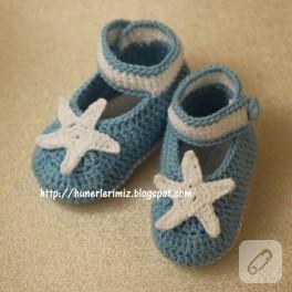 Bebek patiği (4-8 ay) ve yıldız motifi yapılışı