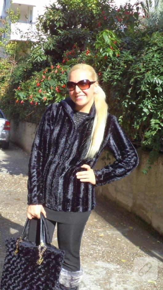 Siyah kürk ceket