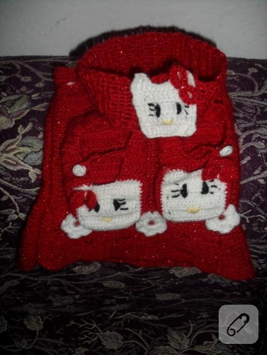 Örgü Hello Kitty takım