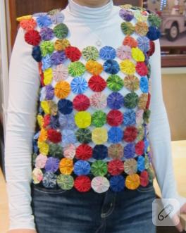 Yoyo patchwork süeter