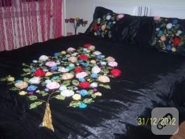 Kurdele işi yatak örtüsü takımı