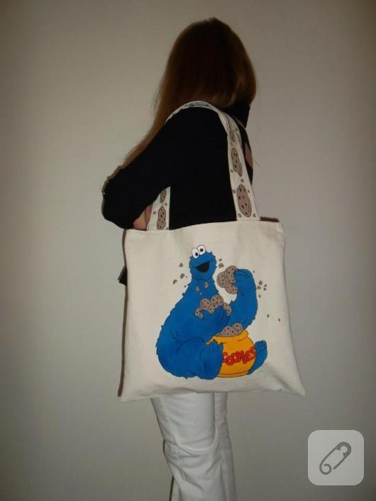 Kurabiye desenli bez çanta