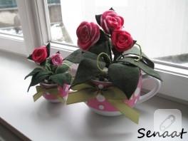 Fincanlar saksıya, kumaşlar çiçeğe