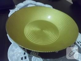 Altın rengine boyadığım tabak