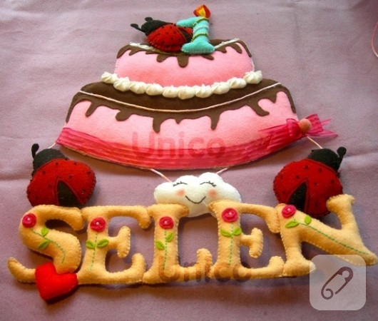 Keçe doğum günü pastası