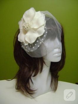 Özel tasarım nikah şapkası ve gelin eldivenleri