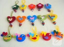 Keçe dolgulu kuş, çiçek ve kalp magnetler (Mahir Çınar)