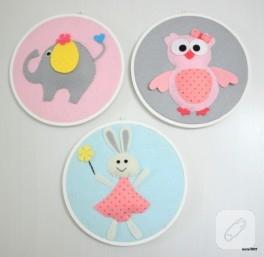 Tavşan, baykuş, fil figürlü keçe kasnak panolar