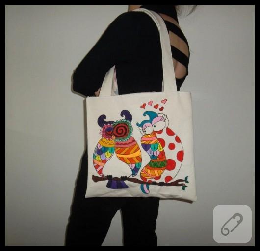 Baykuş desenli bez çanta