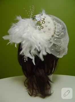 Süslü, aplikeli nikah şapkası / vualet