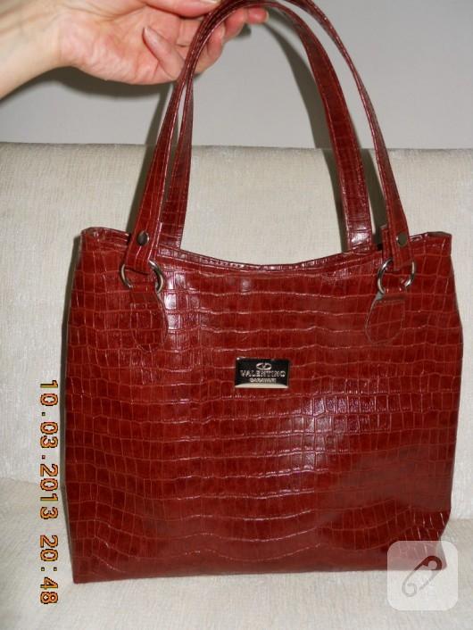 Krokodil desenli çanta