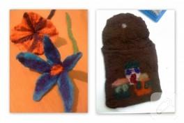 Yün keçe çiçek ve çanta