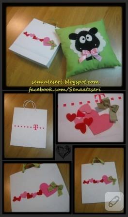 Kuzulu yastık ve ona uygun hediye torbası