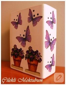 Kelebek desenli vazo ve çerçeve (dekupaj)