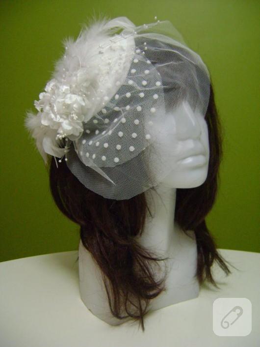 Beyaz nikah şapkası