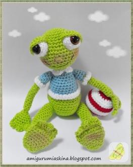 Amigurumi futbolcu kurbağa