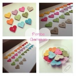 Rengarenk kalp kitap ayraçları (bebek hediyeleri)