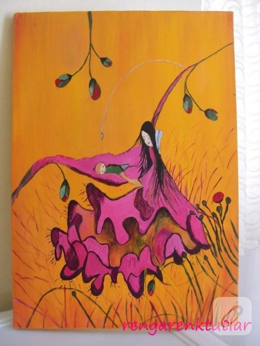Tuval üzerine akrilik boya çalışması