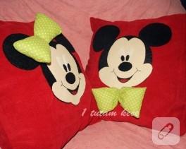 Mickey ve Minnie Mouse yastıklar