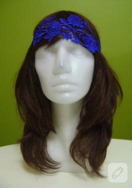 Mavi dantel saç bandı