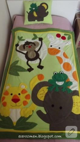 Orman hayvanları polar yatak örtüsü ve kırlent