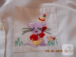 Sevimli fare işlemeli çocuk gömleği
