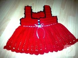 Tğ işi kırmızı bebek elbisesi
