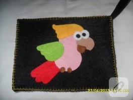 Keçe papağanlı çanta